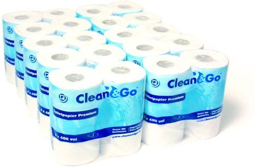 TOILETPAPIER clean&go  400 vellen 2 laags  COLLI a 40 rollen
