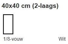 SERVETTEN 40x40 cm. 1/8  vouw  WIT  2 laags