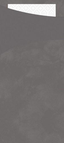 BESTEKZAK  POCHETTE 8.5 x 19 cm Granit Grey/ wit servet  p/100