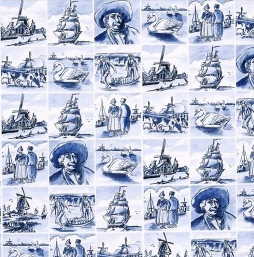 DESSINPAPIER Delfts blauw Oud Holland tegel  50 cm 200 mtr dessin 3306