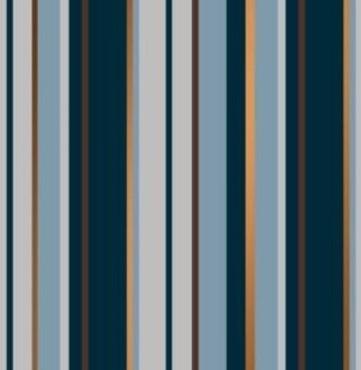 DESSINPAPIER Stripes blue / brown copper  50 cm 200 mtr