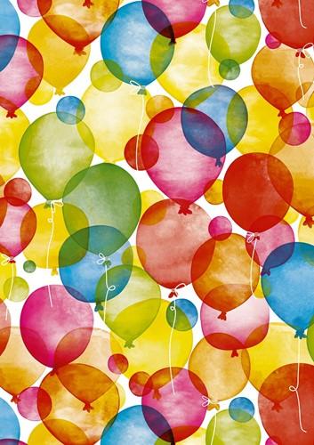 DESSINPAPIER Watercolour balloons 30 cm wit kraft 250 meter