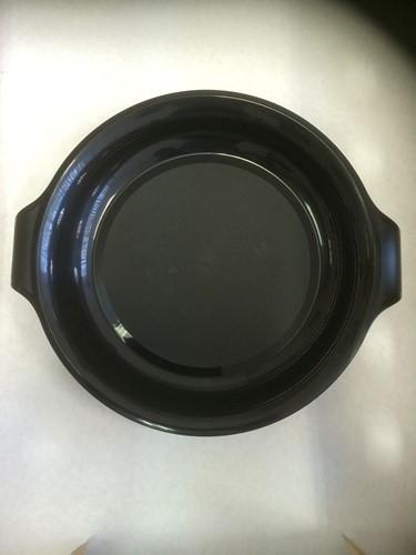 BORD  BBQ DINER   SPUITGIET ZWART  rond 21cm x 3 cm hoog