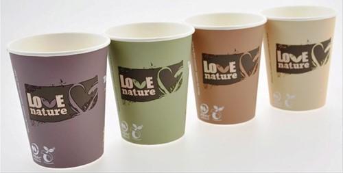 KOFFIE HOTCUP BIOWARE LOVE / PLA 200 ml 8 oz koffie&cappucino  assorti