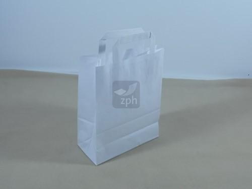 PAPIEREN DRAAGTAS MET PLAT HANDVAT 22x10x28 cm WIT GLAD KRAFT