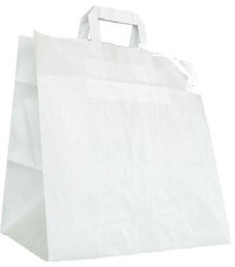 SNACKTAS  Papieren draagtas met plathandvat KLEIN 26x17x27 cm WIT KRAFT