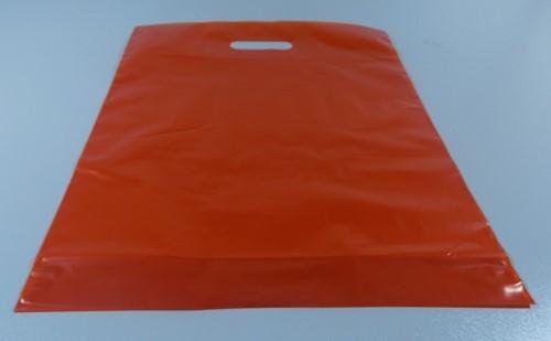 DRAAGTAS ORANJE (semi transparant)  38x44+4 cm 50 micron