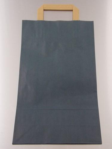 PAPIEREN DRAAGTAS PLAT HANDVAT 22x10x38 cm BLAUW KRAFT