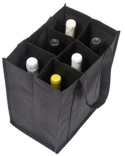 WIJNFLESTAS 27x18x30 + cm vakverdeling voor 6 flessen PP NONWOVEN