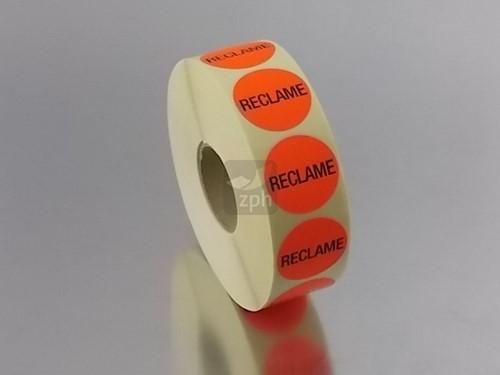 RECLAME ETIKETTEN  FLUOR ROOD ROND 35 mm
