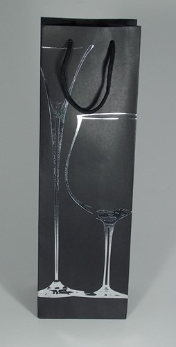 WIJNFLES ZAK MET KOORD 39x12x9 cm ZWART GLAS ZILVER set a 12 st