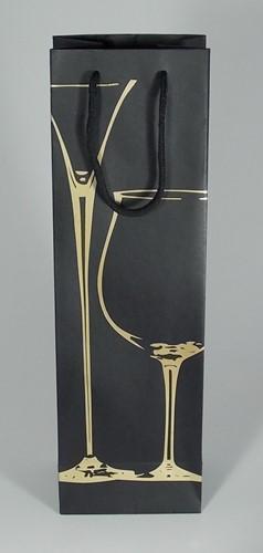 WIJNFLES ZAK MET KOORD 39x12x9 cm ZWART GLAS GOUD set a 12 st