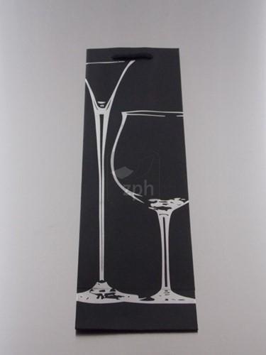 WIJNFLES ZAK MET KOORD 39x12x9 cm ZILVER GOUD FLES/GLAS set a 12 st