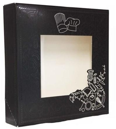 FONDUEDOOS met venster 28x28x6 cm dessin 835 NOIR