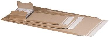 BOEKVERZEND / WIKKEL VERPAKKING a5+ binnenmaat 249x165 mm dikte 20-60 mm bruin