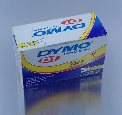 DYMOTAPE D1 24mm x 7 mtr WIT/ZWART  53713