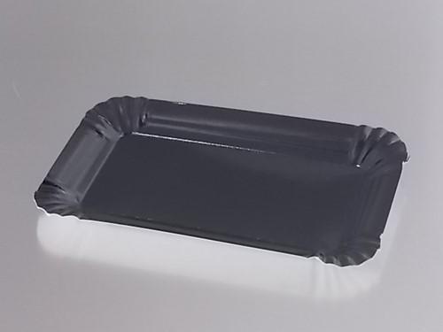 VLEESWARENSCHAALTJES PET GELAMINEERD  10x16 cm ZWART