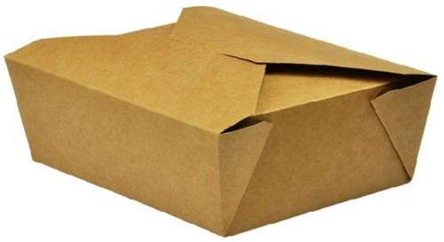 LUNCH MAALTIJD BOX # 8  152x120x63 mm FSC® / PLA BRUIN KRAFT a  300 st.