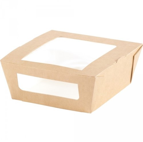 LUNCH MAALTIJD BOX met PEvenster 120x110x45 mm  BRUIN KRAFT a  200 st. 159908
