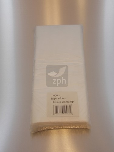 HDPE PLASTIC ZAK 22x32 cm zijvouw (14x8x32) transparant
