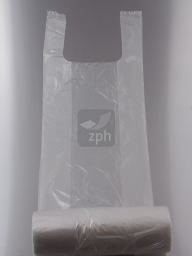 HDPE PLASTIC KNOOP-GROENTEZAK 23x12x50 cm (5 kg) OP ROL  transparant