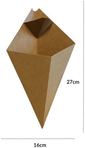 PUNTZAK + SAUSBAKJE FRIET KRAFT KARTON 16x27 cm  250 gr kraft  200 st