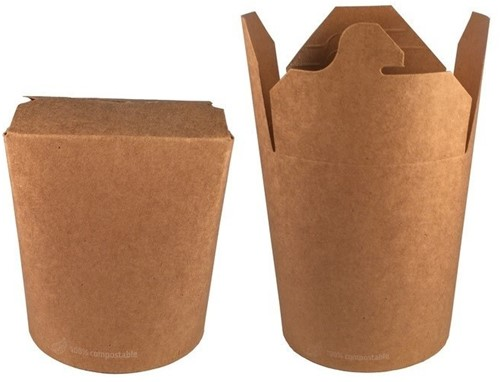 WOK NOODLE PAILS BEKER FSC® kraft bruin PLA 26 oz  760 ml