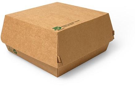 Hamburgerbox karton bruin XL  17x17x9 cm  100% Fair doos a 225 stuks
