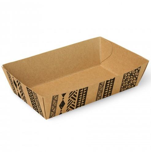 """Snackbakjes A9, karton 12 x 7 x 3,5 cm """"Maori"""" doos a 400 stuks"""