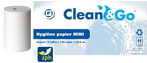HANDDOEK POETSROL MINI   CLEAN&GO  TISSUE 20,4 cm x 120 meter PREMIUM