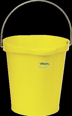 VIKAN emmer, 12 liter geel, maatverdeling en schenktuit