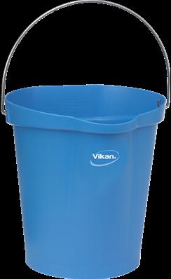 VIKAN emmer, 12 liter blauw, maatverdeling en schenktuit