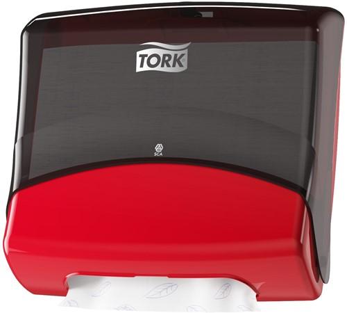 TORK Gevouwen Reinigingsdoek Dispenser Kunststof Zwart/ Rood W4 654008