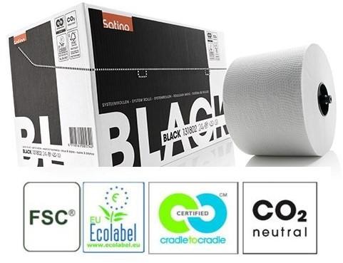 SATINO BLACK toiletpapier systeemrol met dop wit 131802
