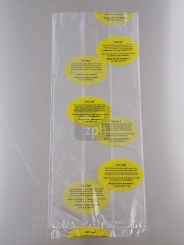 PLASTIC ZAK 22x32 cm zijvouw (14x8x32) met  WAARSCHUWING KIP