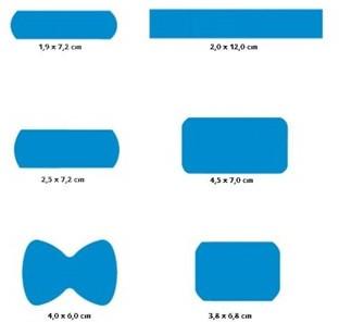 DETECTIE PLEISTERS blauw assortiment 6 modellen  120 stuks in doosje