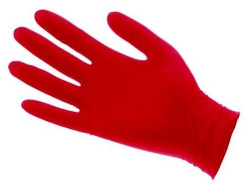 NITRIL handschoen ROOD  maat EXTRA LARGE poedervrij a 100 stuk