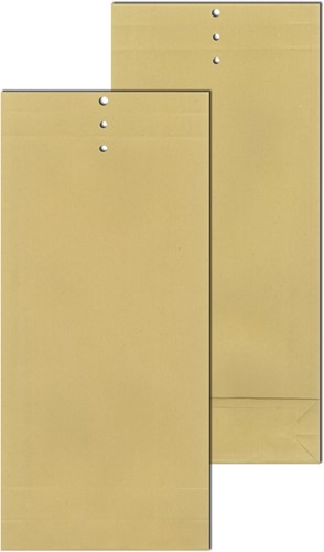 MONSTERZAKKEN MET RILLIJNEN EN SLUITGAATJES 100x245x40 mm  120 grams bruin
