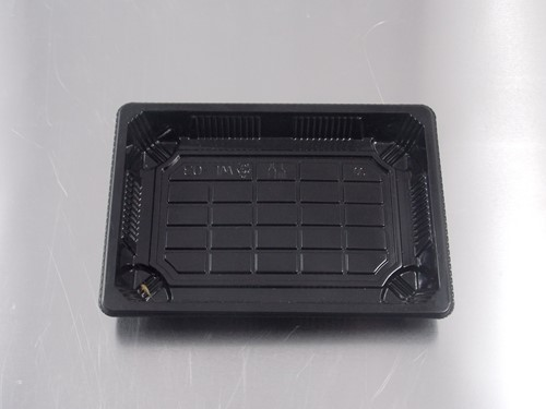 SUSHI TRAY ZWART+ DEKSEL PS TRANSPARANT 166x155x20 mm HP 03  THERMO