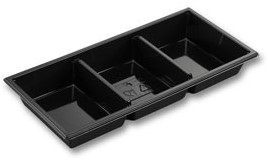 GOURMET TRAY 3 VAKS ZWART PET 250x120x31 mm