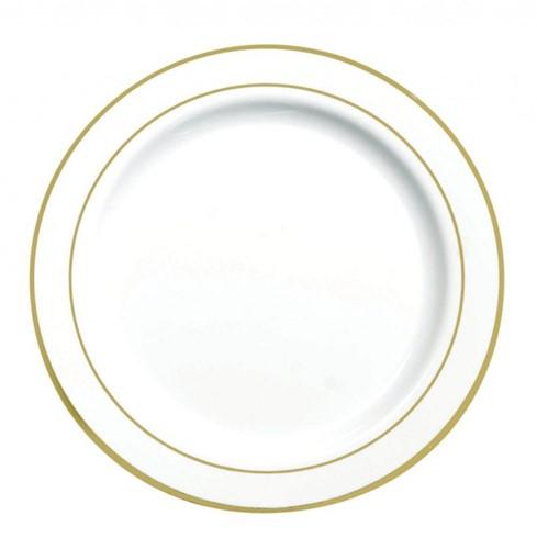 BORD DINNER EN BUFFET  ROND Ø 23 cm ps WIT met gouden rand Mozaik
