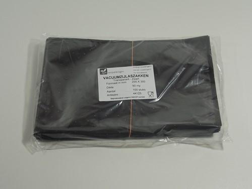 VACUUMZAK 20 x 30 cm ZIJLAS 90 mµ  transparant / zwart