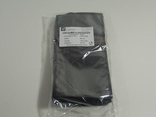 VACUUMZAK 15 x 30 cm ZIJLAS 90 mµ transparant / zwart