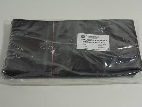 VACUUMZAK 20 x 40 cm ZIJLAS 90 mµ transparant / zwart