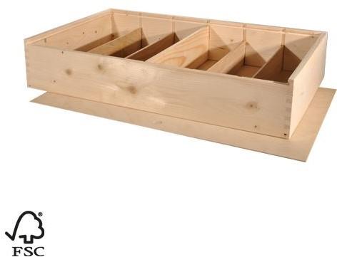 6 FLES WIJNKIST MET SCHUIFDEKSEL 34x56,2x9 cm Houtverbinding luxe