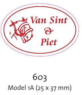 ETIKET WIT VAN SINT EN PIET ovaal 38x25 mm  disp doos a 500 st.