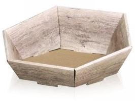 Geschenkkorf 6 hoekig dessin Wood 290x270x60 / 105 mm klein