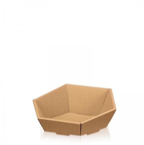 Geschenkkorf 6 hoekig Natur karton open golf  290x270x60 / 105 mm klein