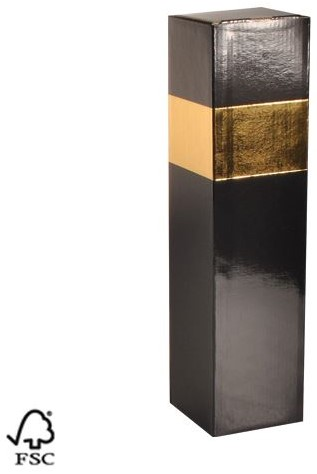 WIJNDOOS 1 FLES KOKER DOOS FSC mix karton 87x87x360 mm  goud / zwart