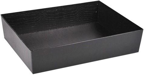 SCHAAL LEATHERLOOK zwart RechtHoek 36x29x8 cm